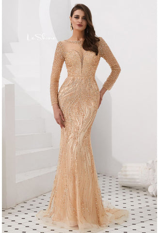 Image of Mermaid Evening Dresses Stunning V-Neck with Sequins and Rhinestones Embellished Tulle - 7