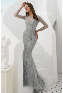Mermaid Evening Dresses Stunning V-Neck with Sequins and Rhinestones Embellished Tulle - 3