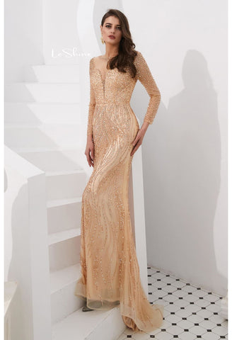 Image of Mermaid Evening Dresses Stunning V-Neck with Sequins and Rhinestones Embellished Tulle - 11