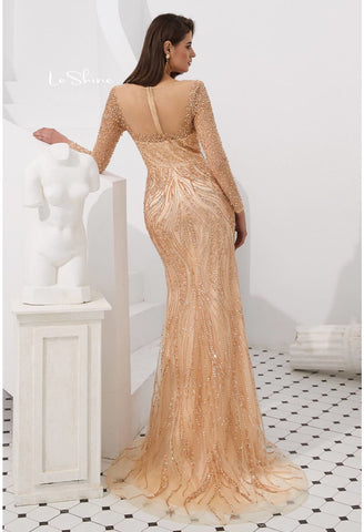 Image of Mermaid Evening Dresses Stunning V-Neck with Sequins and Rhinestones Embellished Tulle - 8