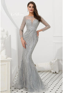 Mermaid Evening Dresses Stunning V-Neck with Sequins and Rhinestones Embellished Tulle - 1