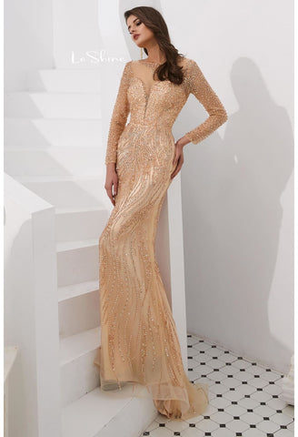 Image of Mermaid Evening Dresses Stunning V-Neck with Sequins and Rhinestones Embellished Tulle - 10
