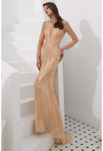 Mermaid Evening Dresses Stunning V-Neck with Sequins and Rhinestones Embellished Tulle - 10