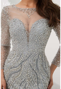 Mermaid Evening Dresses Stunning V-Neck with Sequins and Rhinestones Embellished Tulle - 6