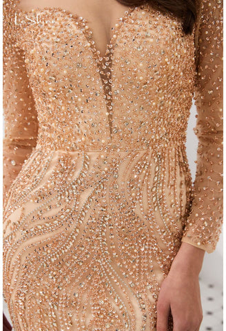 Image of Mermaid Evening Dresses Stunning V-Neck with Sequins and Rhinestones Embellished Tulle - 12