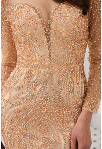 Mermaid Evening Dresses Stunning V-Neck with Sequins and Rhinestones Embellished Tulle - 12