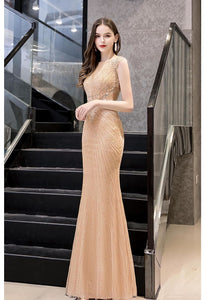 Mermaid Formal Dresses Luxury Rhinestones V-Neck - 2