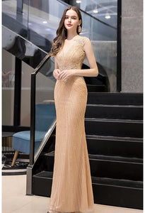 Mermaid Formal Dresses Luxury Rhinestones V-Neck - 1