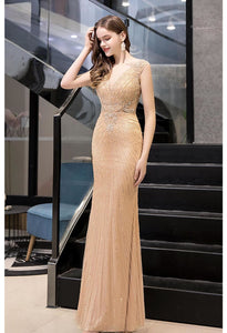 Mermaid Formal Dresses Luxury Rhinestones V-Neck - 7