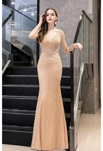 Mermaid Formal Dresses Luxury Rhinestones V-Neck - 6