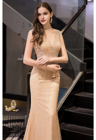 Image of Mermaid Formal Dresses Luxury Rhinestones V-Neck - 4