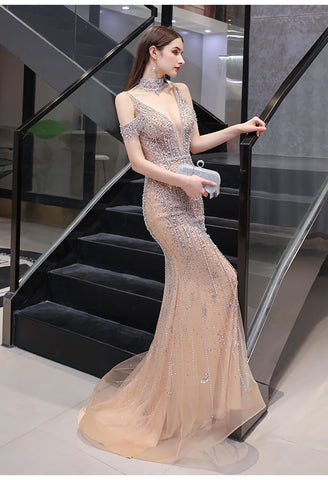 Image of Mermaid Formal Dresses Luxury Starlit Beaded Halter with Chic Sleeves - 5