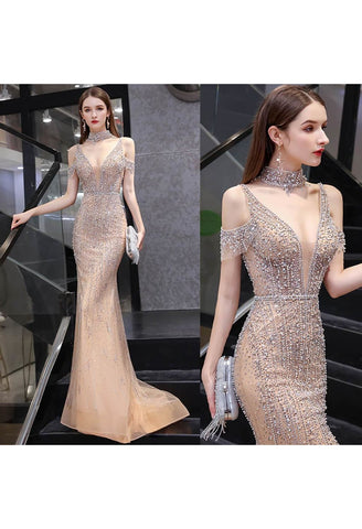 Image of Mermaid Formal Dresses Luxury Starlit Beaded Halter with Chic Sleeves - 7
