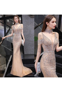 Mermaid Formal Dresses Luxury Starlit Beaded Halter with Chic Sleeves - 7