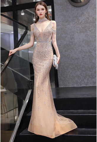 Image of Mermaid Formal Dresses Luxury Starlit Beaded Halter with Chic Sleeves - 1