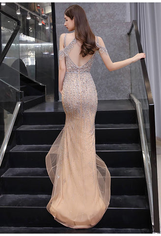 Image of Mermaid Formal Dresses Luxury Starlit Beaded Halter with Chic Sleeves - 2