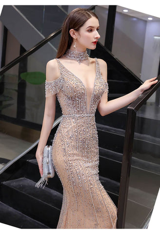 Image of Mermaid Formal Dresses Luxury Starlit Beaded Halter with Chic Sleeves - 3