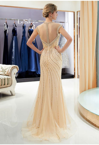 Image of Mermaid Formal Dresses Starlit High Neck Trumpet with Rhinestones Tulle - 2