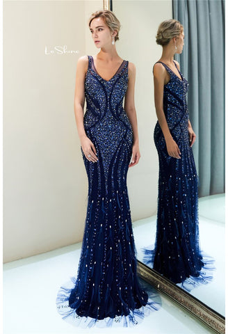Image of Mermaid Formal Dresses Starlit Scoop Neckline with Rhinestones Sequins Embellished Tulle - 4