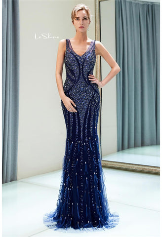Image of Mermaid Formal Dresses Starlit Scoop Neckline with Rhinestones Sequins Embellished Tulle - 2