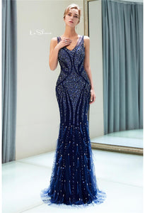 Mermaid Formal Dresses Starlit Scoop Neckline with Rhinestones Sequins Embellished Tulle - 6