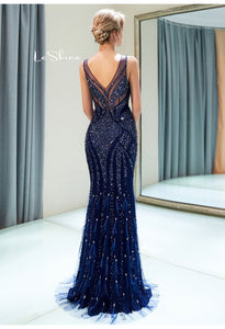 Mermaid Formal Dresses Starlit Scoop Neckline with Rhinestones Sequins Embellished Tulle - 3