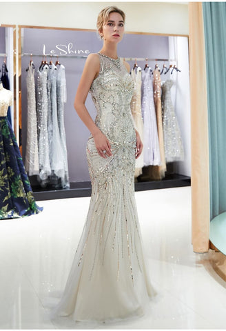 Image of Mermaid Formal Dresses Starlit Sheer Neckline Trumpet with Brilliant Rhinestones Tulle - 7