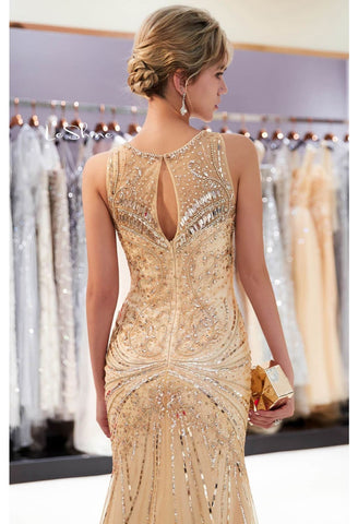 Image of Mermaid Formal Dresses Starlit Sheer Neckline Trumpet with Brilliant Rhinestones Tulle - 4