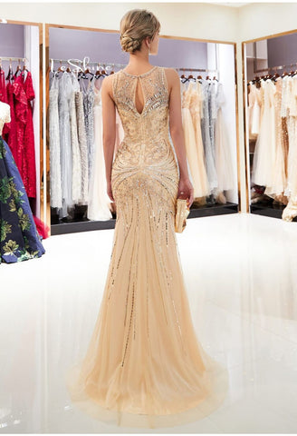 Image of Mermaid Formal Dresses Starlit Sheer Neckline Trumpet with Brilliant Rhinestones Tulle - 2