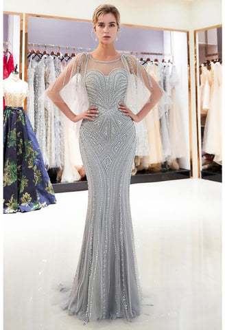 Image of Mermaid Formal Dresses Starlit Sweetheart Neckline with Rhinestones Embellished Tulle - 4
