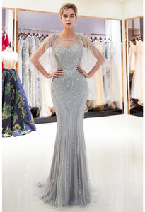 Mermaid Formal Dresses Starlit Sweetheart Neckline with Rhinestones Embellished Tulle - 4