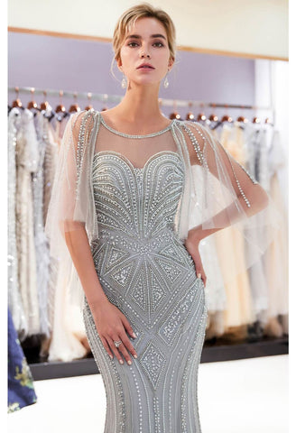 Image of Mermaid Formal Dresses Starlit Sweetheart Neckline with Rhinestones Embellished Tulle - 1