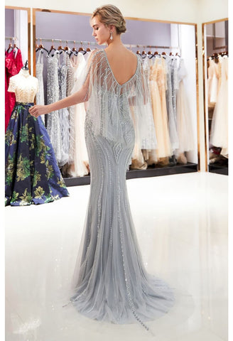 Image of Mermaid Formal Dresses Starlit Sweetheart Neckline with Rhinestones Embellished Tulle - 2