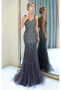Mermaid Formal Dresses Starlit V-Neck with Rhinestones Embellished Tulle - 14
