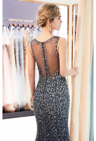 Image of Mermaid Formal Dresses Starlit V-Neck with Rhinestones Embellished Tulle - 11
