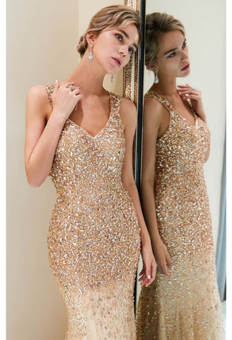 Image of Mermaid Formal Dresses Starlit V-Neck with Rhinestones Embellished Tulle - 1