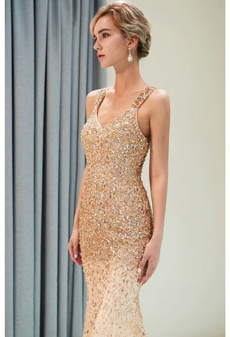Image of Mermaid Formal Dresses Starlit V-Neck with Rhinestones Embellished Tulle - 3