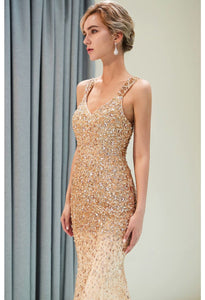 Mermaid Formal Dresses Starlit V-Neck with Rhinestones Embellished Tulle - 3