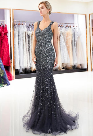 Image of Mermaid Formal Dresses Starlit V-Neck with Rhinestones Embellished Tulle - 10