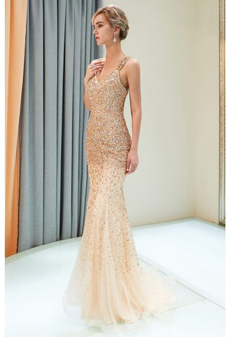 Image of Mermaid Formal Dresses Starlit V-Neck with Rhinestones Embellished Tulle - 4
