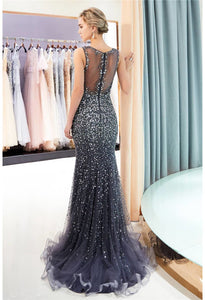 Mermaid Formal Dresses Starlit V-Neck with Rhinestones Embellished Tulle - 12