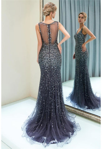 Image of Mermaid Formal Dresses Starlit V-Neck with Rhinestones Embellished Tulle - 9