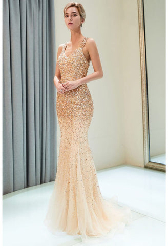 Image of Mermaid Formal Dresses Starlit V-Neck with Rhinestones Embellished Tulle - 6