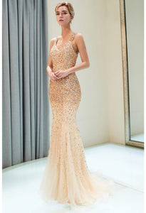 Mermaid Formal Dresses Starlit V-Neck with Rhinestones Embellished Tulle - 6