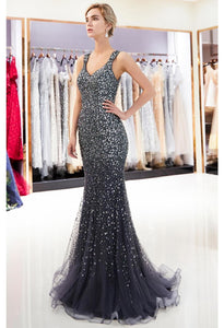 Mermaid Formal Dresses Starlit V-Neck with Rhinestones Embellished Tulle - 13