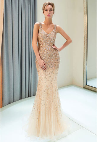 Image of Mermaid Formal Dresses Starlit V-Neck with Rhinestones Embellished Tulle - 5
