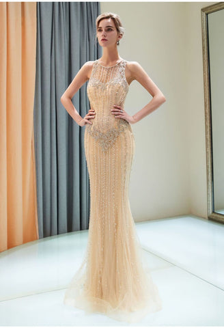 Image of Mermaid Formal Dresses Starlit with Rhinestones Embellished Tulle - 3