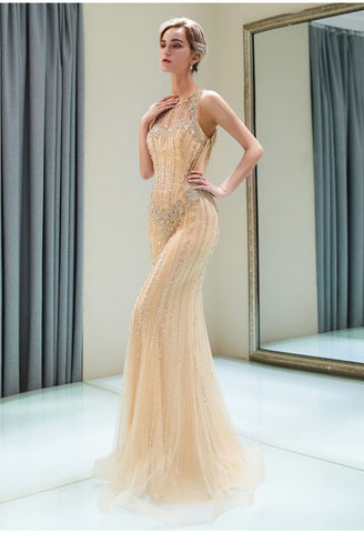 Image of Mermaid Formal Dresses Starlit with Rhinestones Embellished Tulle - 1