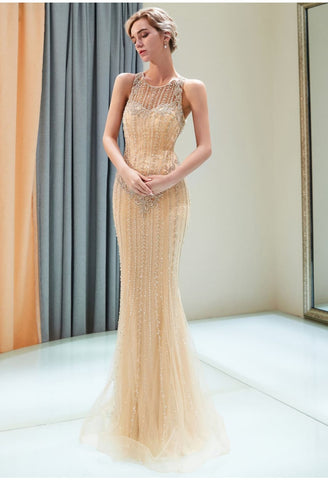 Image of Mermaid Formal Dresses Starlit with Rhinestones Embellished Tulle - 4