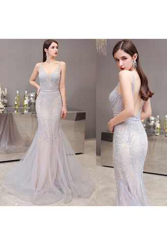 Image of Mermaid Pageant Dresses Brilliant Beading Dusty Gray - 7